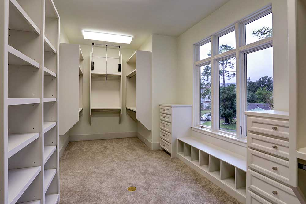 Delightful Spacious Master Closet With Built Ins.