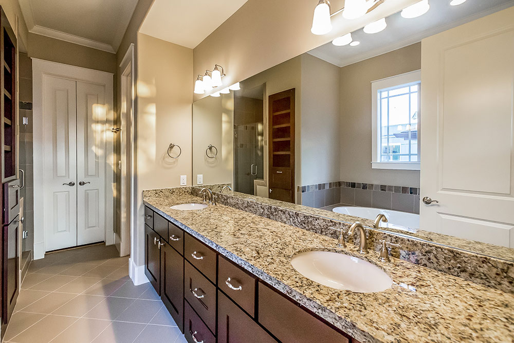 Master Bath Features Dual Sinks, Granite Countertops, And Benedettini  Cabinetry.
